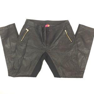Forever 21 Black Leather Moto Pants Pockets Sz L